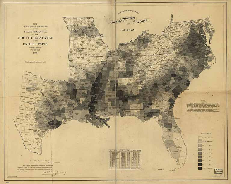 A map of the southeast and central US states with marked counties. Populations are indicated by differing shades representing the percentage of slaves in each county. The highest percentage areas are drawn along the Mississippi delta¬ from about Memphis to New Orleans and in South Carolina and Georgia. A small table at the bottom displays the census of 1860 figures for the free populations, slave population and percentage of slaves by state. It shows that 32.2 percent of the population of the 15 United States were slaves.