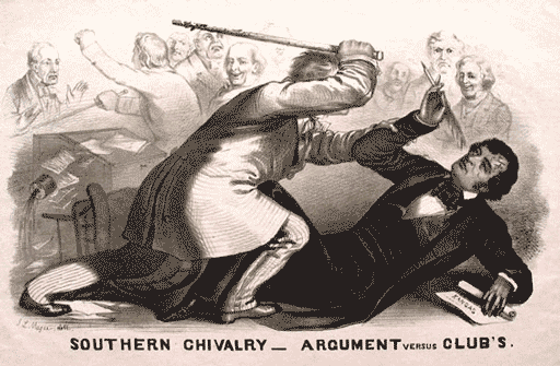 Sumner lies on the floor supporting himself with one arm and raising the other arm while holding a quill in his hand The title of the image is Southern Chivalry  Argument versus Clubs