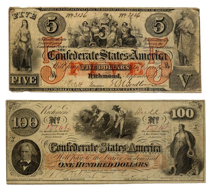 "The front side of two monetary bills marked with the value, images as described in the caption, and the words ""Confederate States of America"" marked on them."