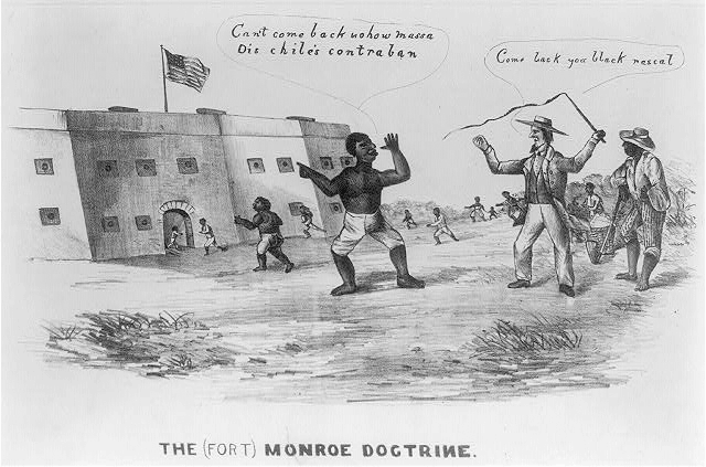 """In this crudely drawn 1861 caricature, a slave stands before the Union fort taunting his plantation master. The planter (right) waves his whip and cries, """"dCome back you black rascal."""" The slave replies, """"Can't come back nohow massa Dis chile's contraban."""" Hordes of other slaves are seen leaving the fields and heading toward the fort. (8)"""