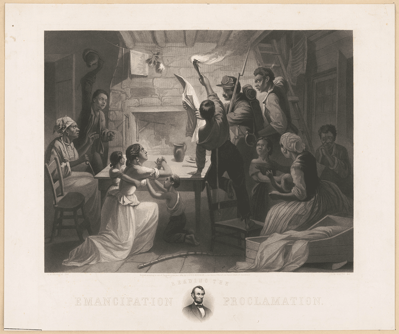 An African American family, including a black Union soldier, reading the Emancipation Proclamation by torchlight. On the mat surrounding the image is a small portrait of Abraham Lincoln.