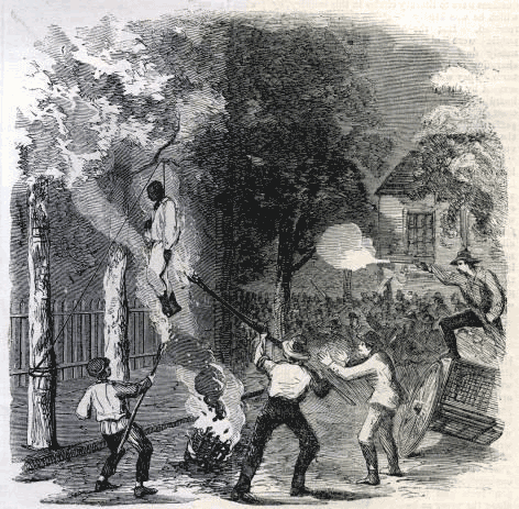 A black man being hanged in New York City by a white mob protesting the draft instituted by Congress. A fire burns below the black man's feet and one man holds a torch to his feet while other white men fire guns at his body.