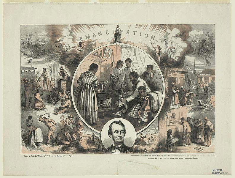"The central scene shows the interior of a freedman's home with the family gathered around a ""Union"" wood stove. The father bounces his small child on his knee while his wife and others look on. On the wall near the mantel hang a picture of Abraham Lincoln and a banjo. Below this scene is an oval portrait of Lincoln and above it, Thomas Crawford's statue of ""Freedom."" On either side of the central picture are scenes contrasting black life in the South under the Confederacy (left) with visions of the freedman's life after the war (right). At top left fugitive slaves are hunted down in a coastal swamp. Below, a black man is sold, apart from his wife and children, on a public auction block. At bottom a black woman is flogged, and a male slave branded. Above, two hags, one holding the three-headed hellhound, Cerberus, preside over these scenes, and flee from the gleaming apparition of Freedom. In contrast, on the right, a woman with an olive branch and scales of justice stands triumphant. Here, a freedman's cottage can be seen in a peaceful landscape. Below, a black mother sends her children off to ""Public School."" At bottom a free Negro receives his pay from a cashier. Two smaller scenes flank Lincoln's portrait. In one a mounted overseer flogs a black field slave (left); in the other a foreman politely greets Negro cotton-field workers."" (10)"