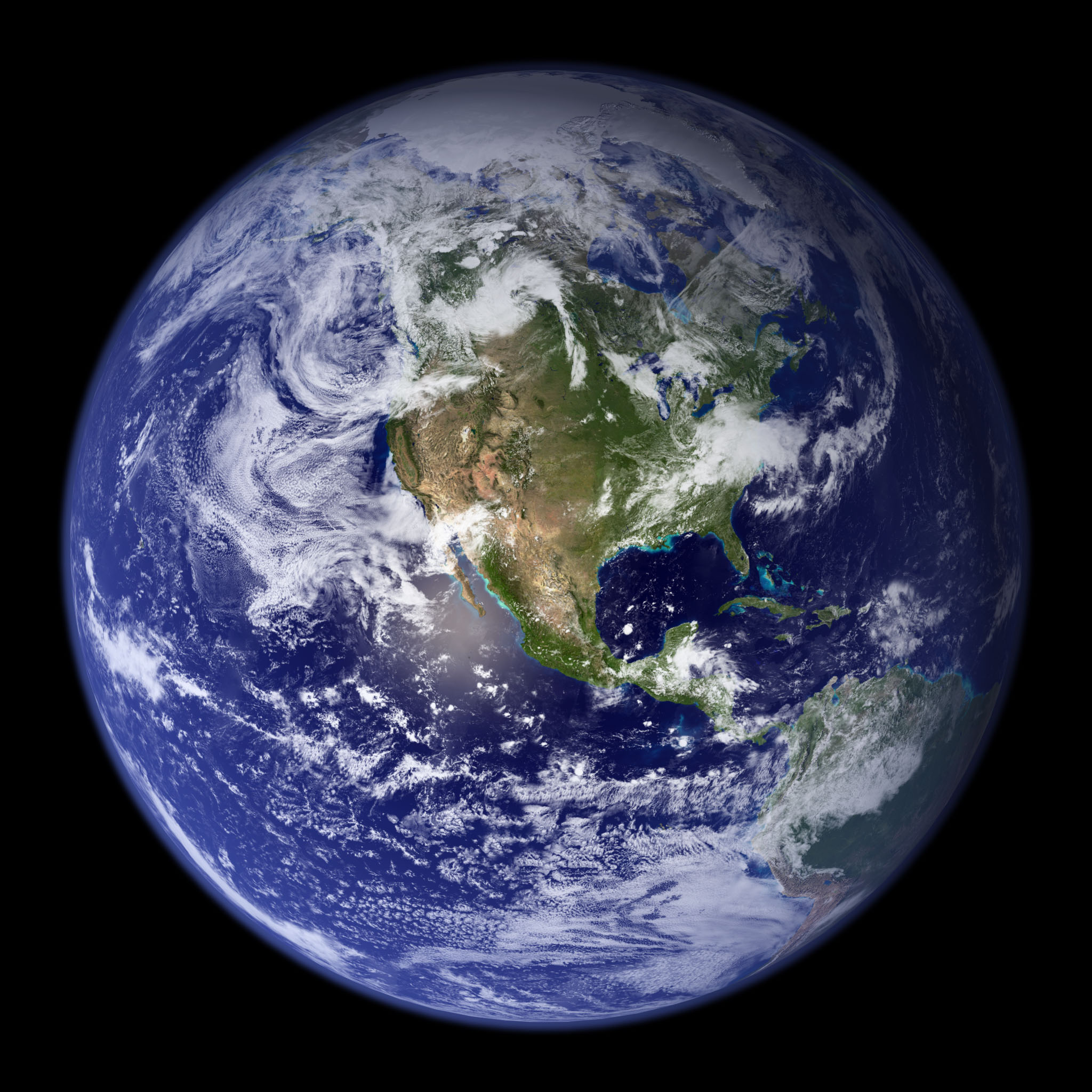 Dayside of Earth, including North America.