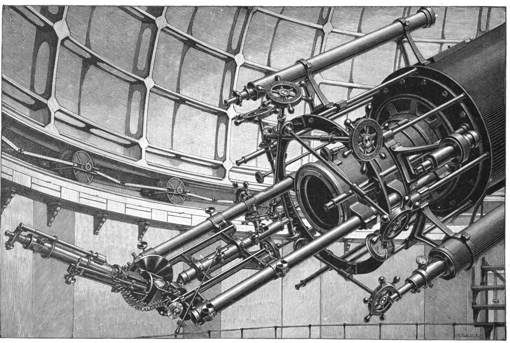 Lick Observatory's Spectroscope, 1898. The actual spectroscope, which looks like a tube, is attached to the back of the telescope is in the lower left of the illustration.
