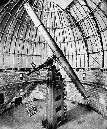 1897 photo of the 40-inch refractor at the Yerkes Observatory is shown.