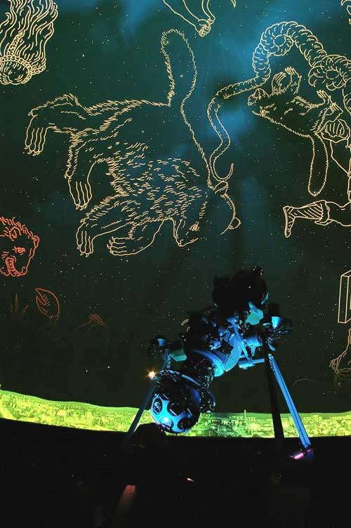 Outlines of constellations are displayed on a planetarium wall.