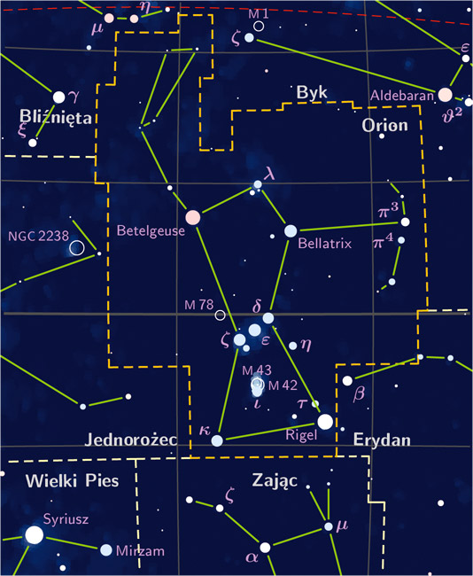 A star map showing the constellation Orion the Hunter is shown with lines drawn between the stars.