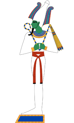 Osiris, the god of the dead in ancient Egyptian religion is shown as a drawing.