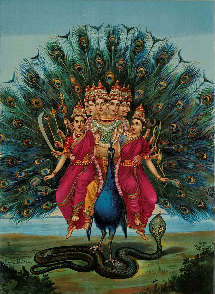Skanda, a celestial general deity riding a peacock is shown in this illustration.
