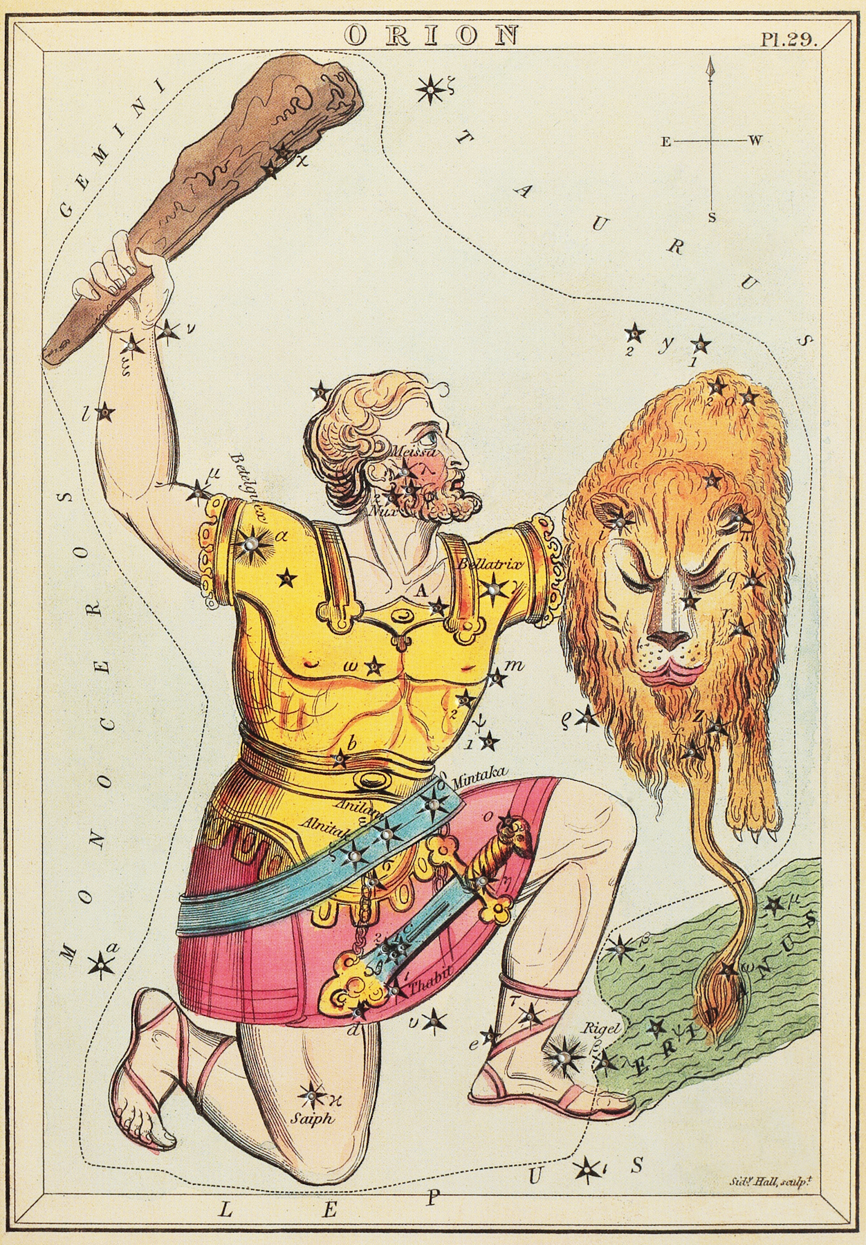 Orion the Hunter, as depicted in Urania's Mirror is shown as holding a lion's head over a map of stars.