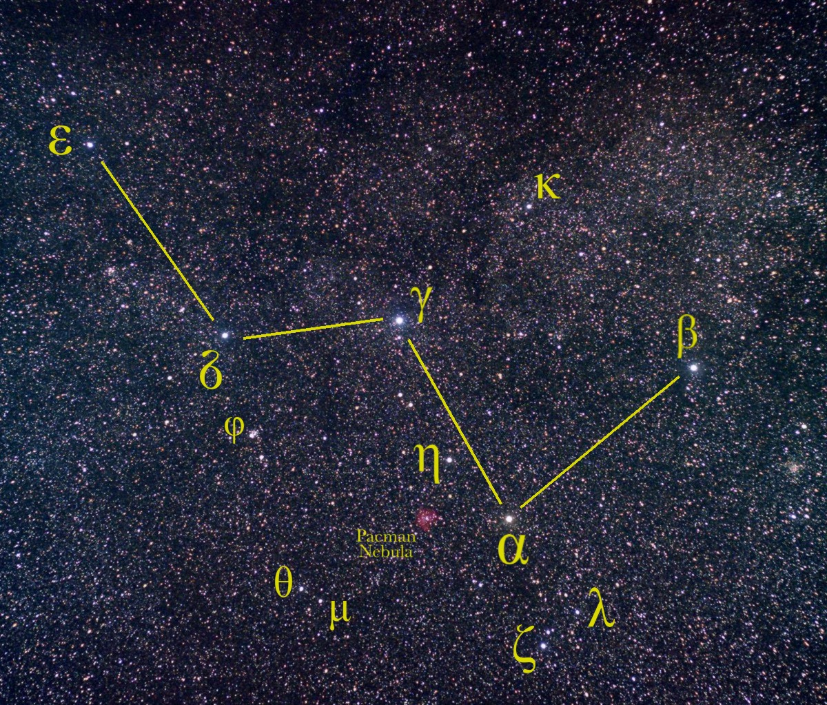 Cassiopeia is shown with lines connecting the stars.