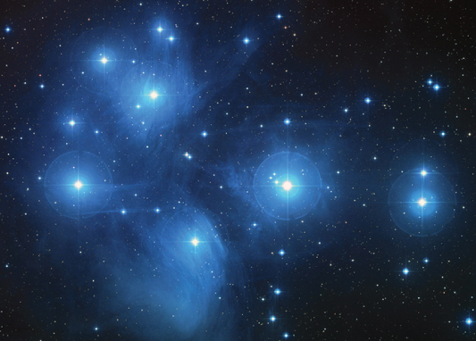 Subaru symbol is shown in the shape of the Pleiades.