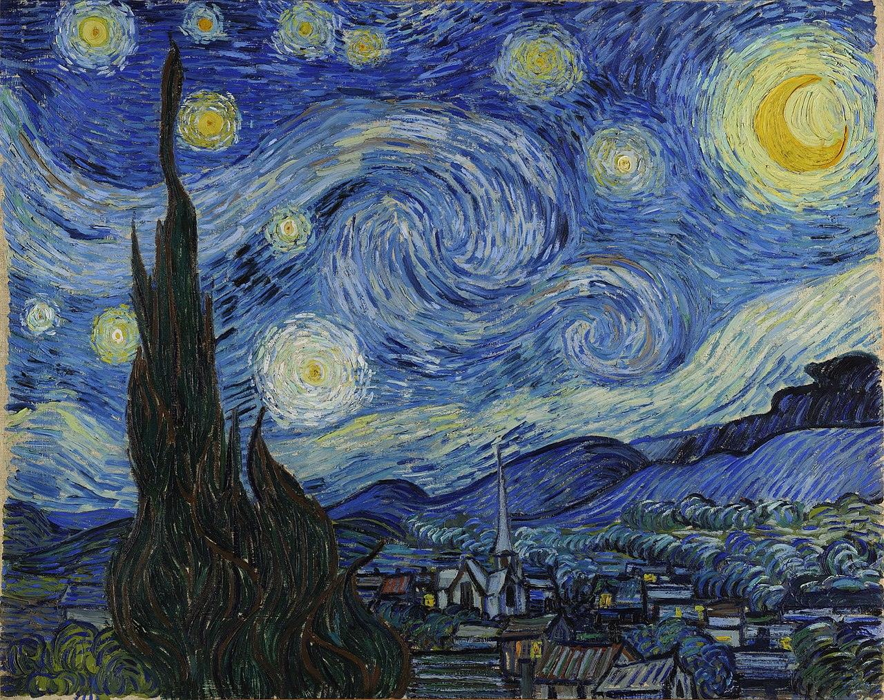 Vincent van Gogh's Starry Night painting is shown. The painting is a landscape with a brilliantly lit sky with many stars and suns scattered throughout the waves of clouds.