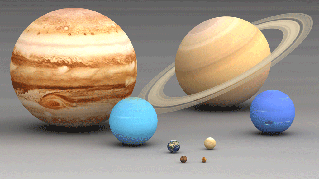 Models of the 8 planets are shown to compare sizes from largest to smallest being: Jupiter, Saturn, Uranus, Neptune, Earth, Venus, Mars, and Mercury; Jupiter being ~29.3 times the size of Mercury.