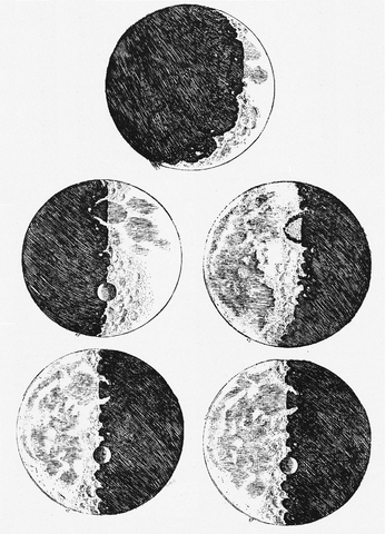 Two sketches of the moon are shown. The one on the left has the left half of the moon in dark. The one on the right has the right half of the moon and dark.
