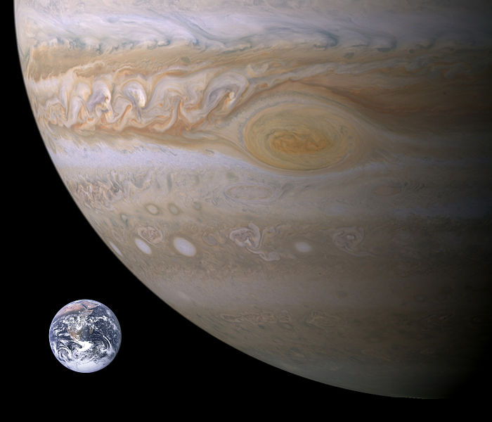 The Earth is shown next to a portion of Jupiter with the Great Red Spot being larger in size than Earth.