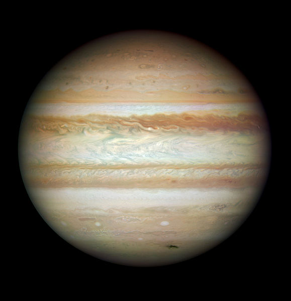 A true color Hubble Space Telescope image of Jupiter is shown.