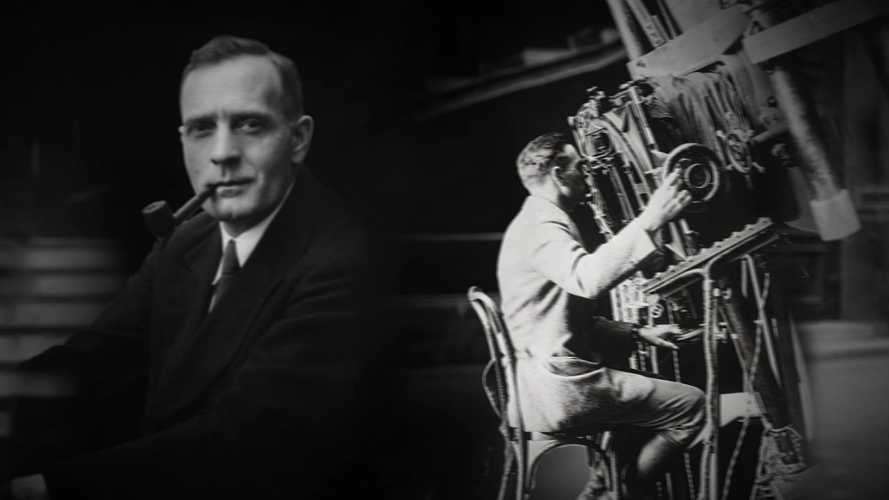 Hubble is shown on the left; he is shown on the right sitting and looking through a telescope.