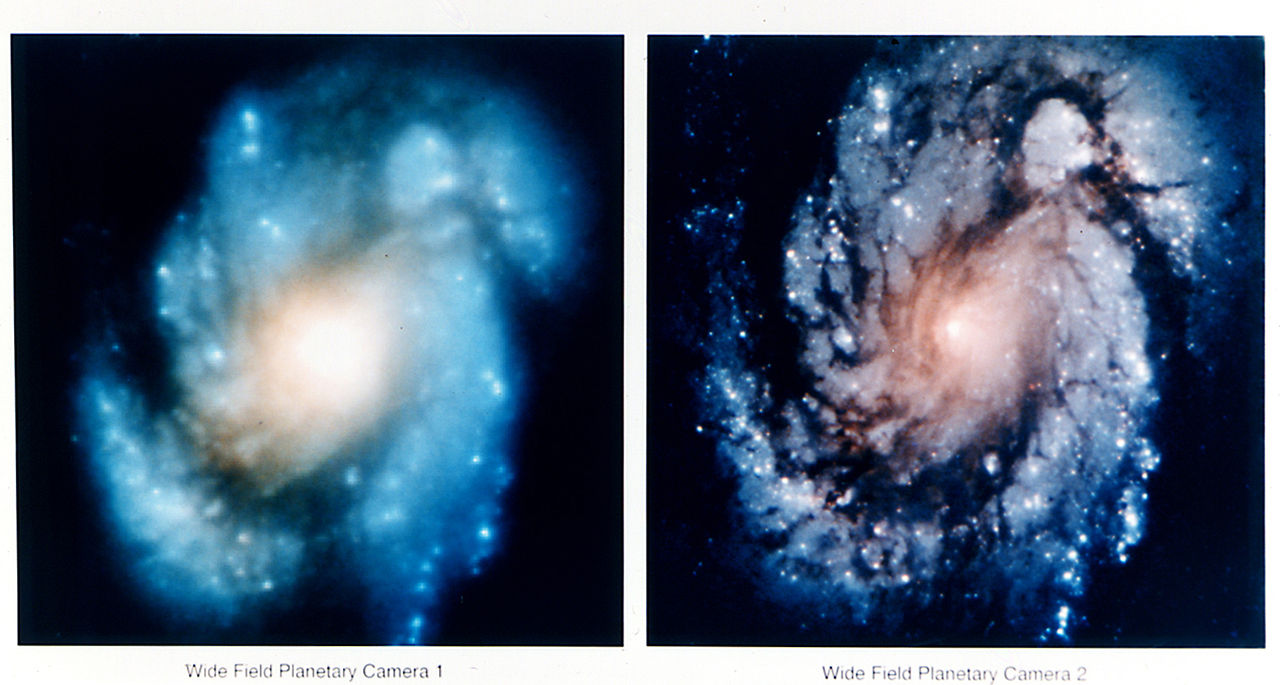 The core of the galaxy M100 is shown as blurry on the left and much clearer on the right.