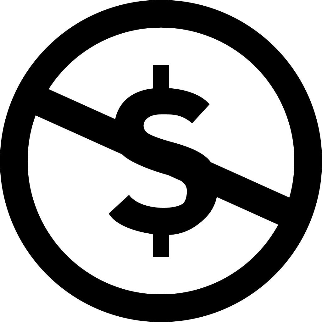 Dollar symbol crossed out inside circle.