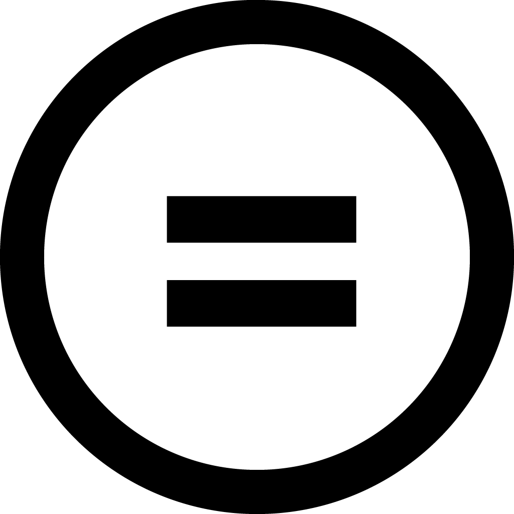 """Equal to"" symbol inside circle."