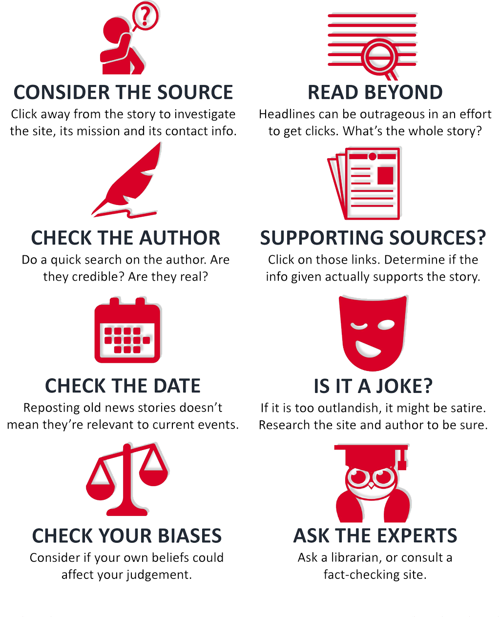 How to Spot Fake News infographic illustrates eight ways to spot fake news, including: consider the source; read beyond the headlines; check the author's credibility; check supporting sources; check the date for currency; is it a joke; check your biases, and ask the experts to fact-check.