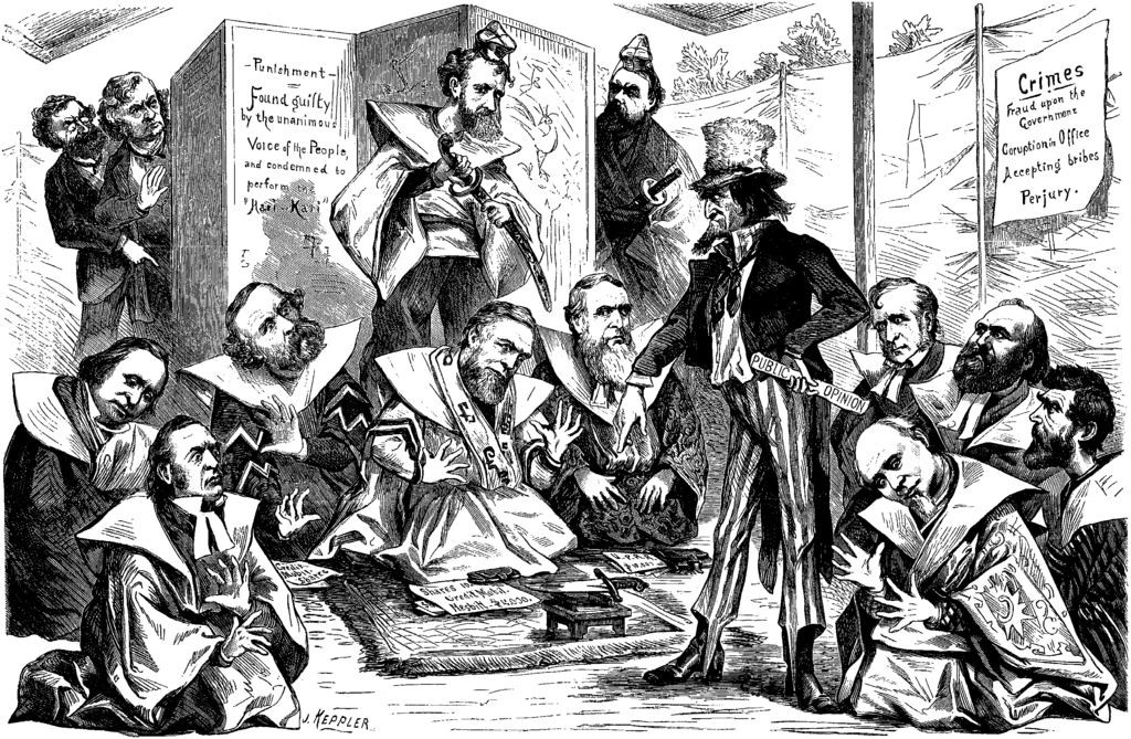 Editorial cartoon: Uncle Sam directs U.S. Senators (and Representatives?) implicated in the Crédit Mobilier of America scandal to commit Hari-Kari. Carl Schurz and Charles Sumner peer out from behind a screen.