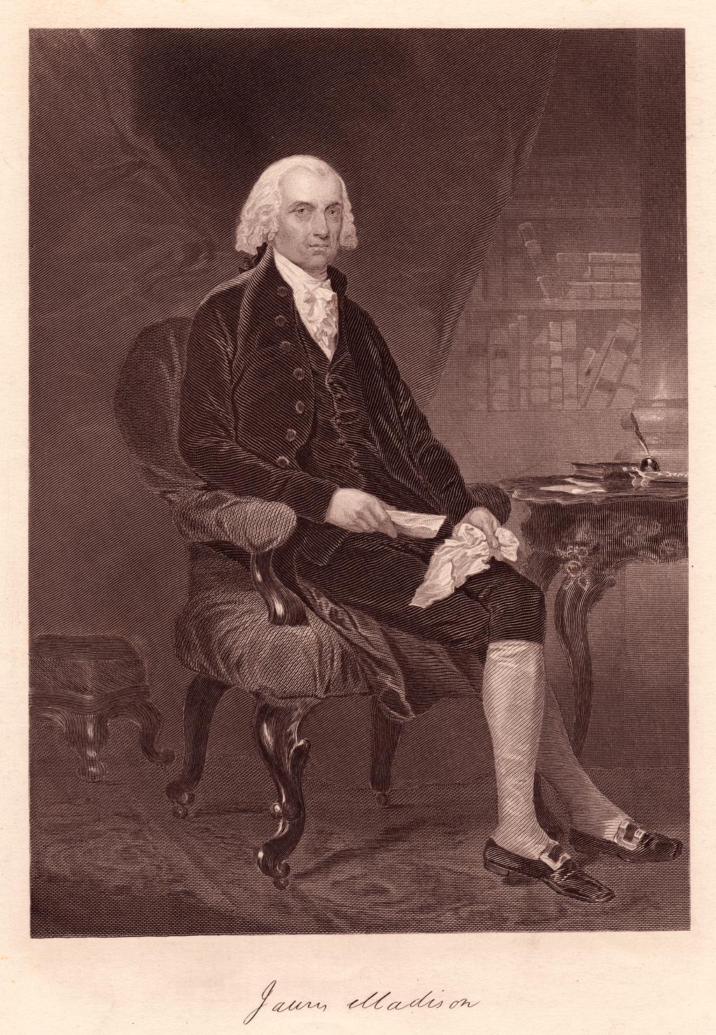 Sitting portrait of James Madison, President of the United States.