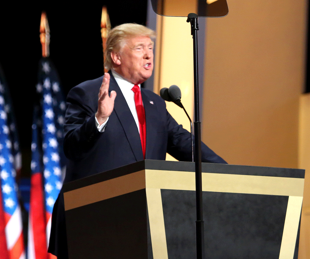 Trump making a speech on the final day of the Republican National Committee, July 2016