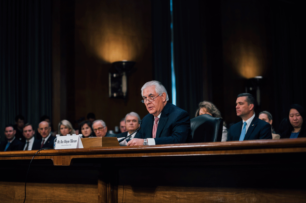 Secretary of State, Rex Tillerson, at his confirmation hearing.