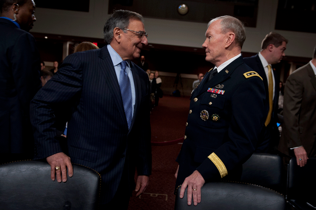 Defense Secretary Leon E. Panetta and Army Gen. Martin E. Dempsey, chairman of the Joint Chiefs of Staff, testify during a hearing of the Senate Armed Services Committee on the Defense Department's response to the attack on U.S. facilities in Benghazi, Libya.
