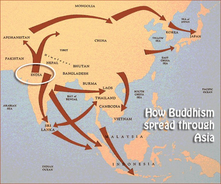 A map illustrating the spread of Buddhism from its origins in India in the 5th century BCE with the teachings of Siddhartha Gautama — the Buddha.