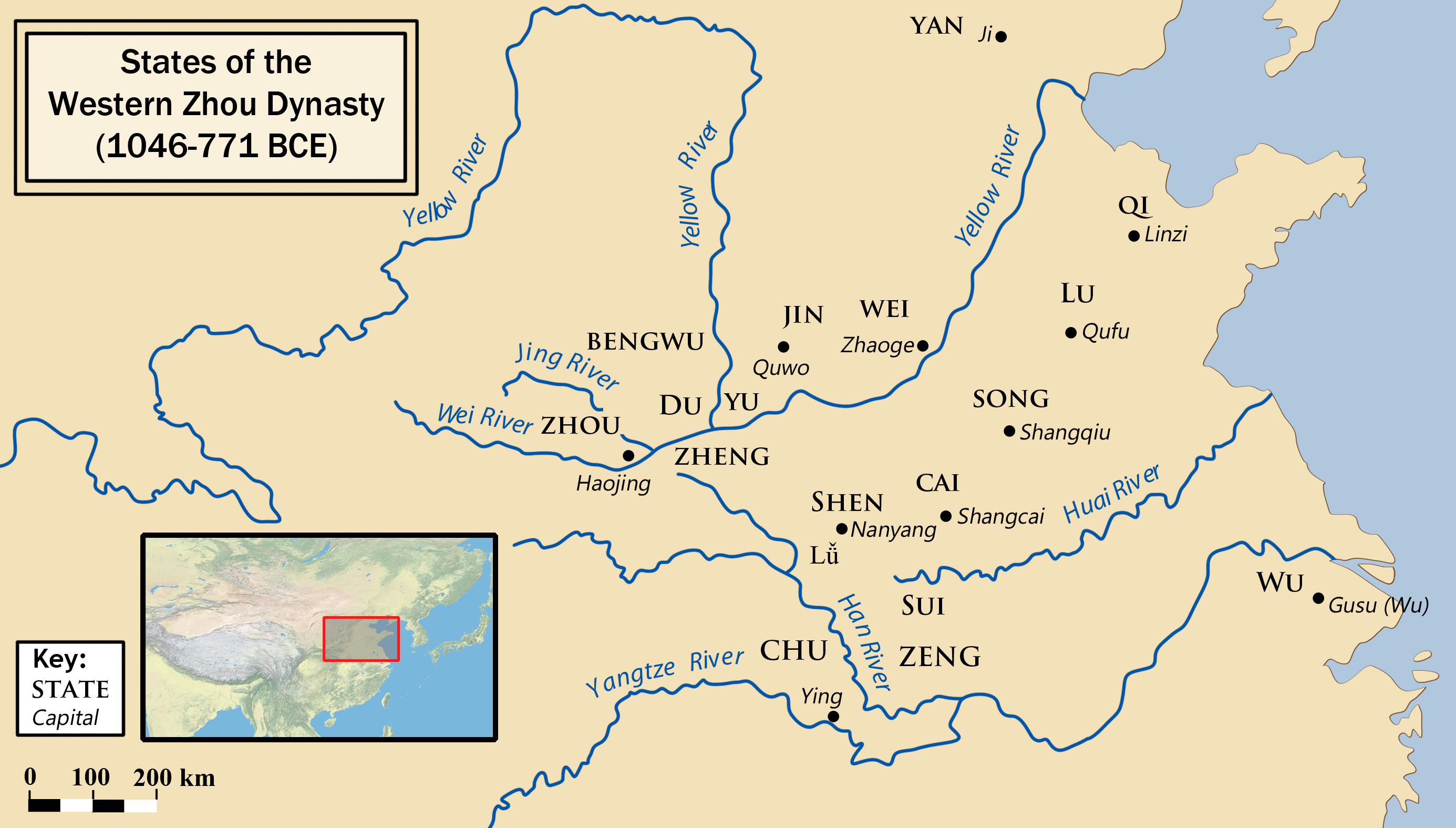The states during the Western Zhou period (1056-771 BCE) in China. Shows the Yellow River and Yangtze River.