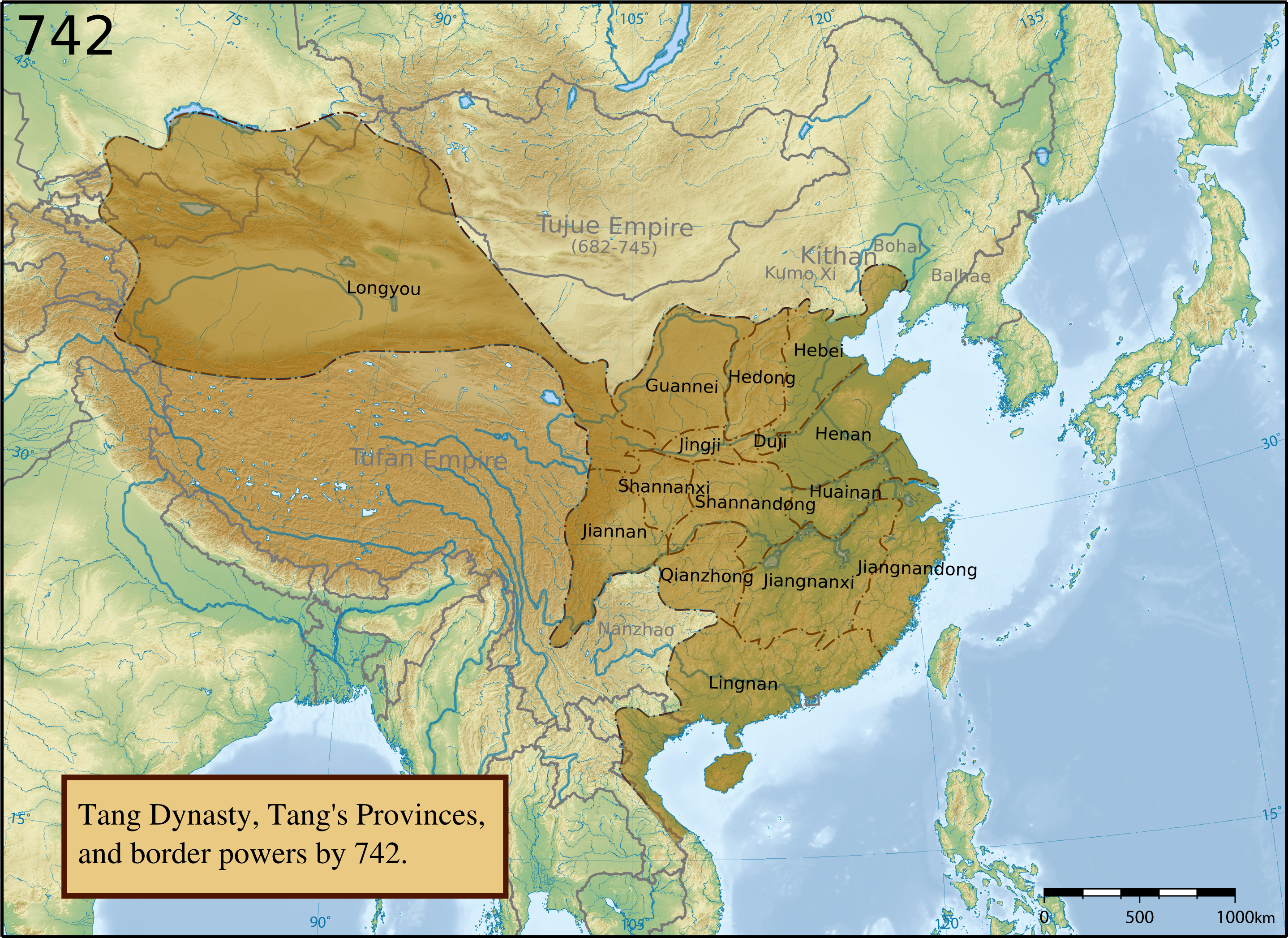 Map of the Tang Dynasty labeled with thirteen of Tang's provinces.