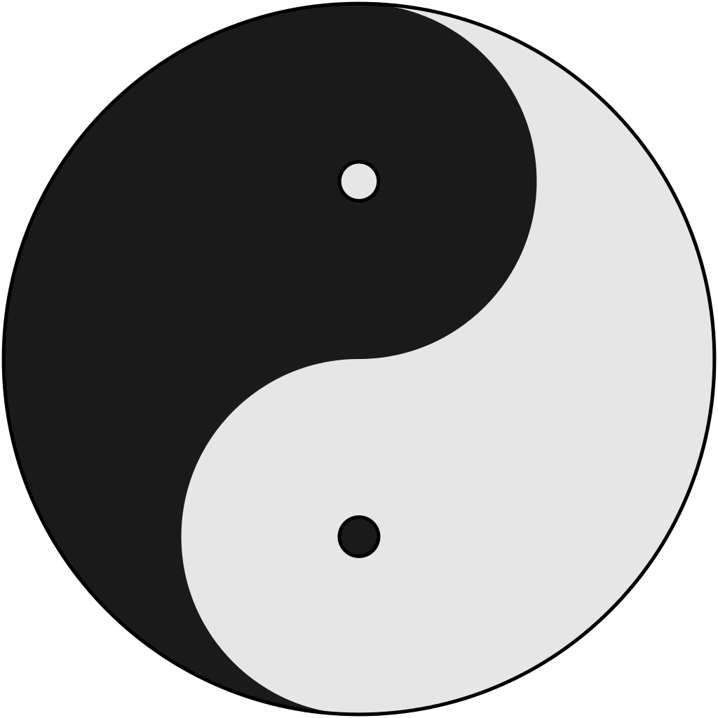 Visual depiction of the intertwined duality of the Yin and Yang with white representing Yang and black representing Yin.