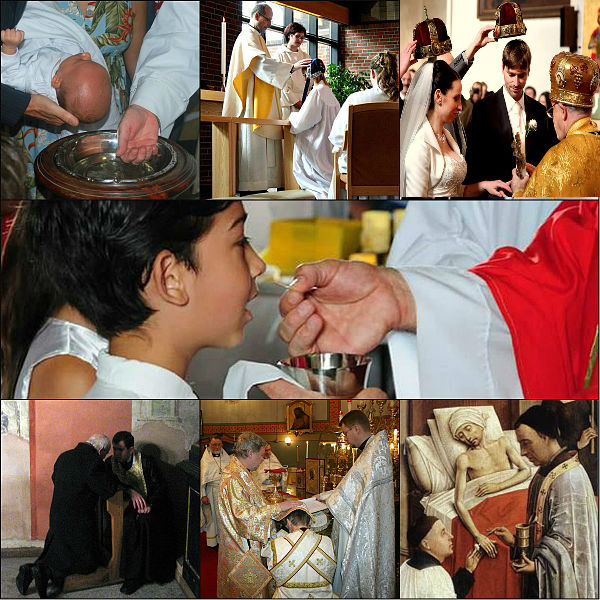 Images representing the seven sacraments of the Christian church: Baptism, Confirmation, Matrimony, Eucharist, Penance, Holy Orders and the Anointing of the Sick.