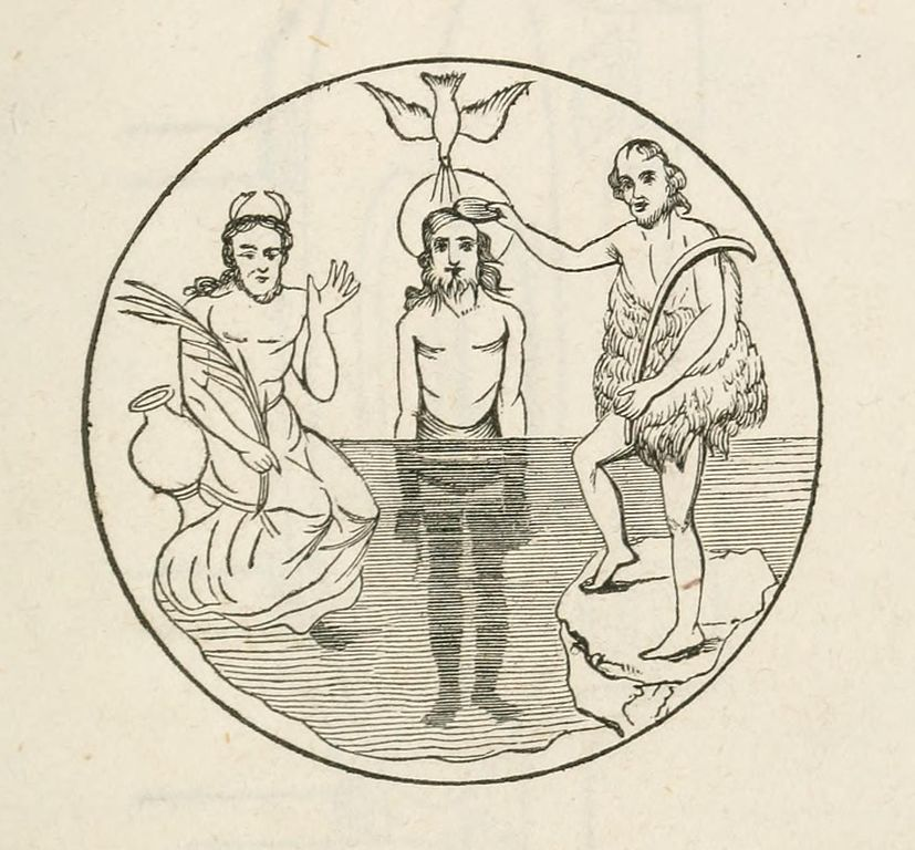 This is a mosaic of the Baptism of Christ in Jordan. In the center is Christ our Saviour in the river Jordan. On a rock stands John the Baptist, in his left hand is a bent rod, and his right hand holds a patera, shell; from which he pours water on the head of the Redeemer; over whom descends the dove, the symbol of the Holy Ghost, with expanded wings, and emitting rays of glory and grace.