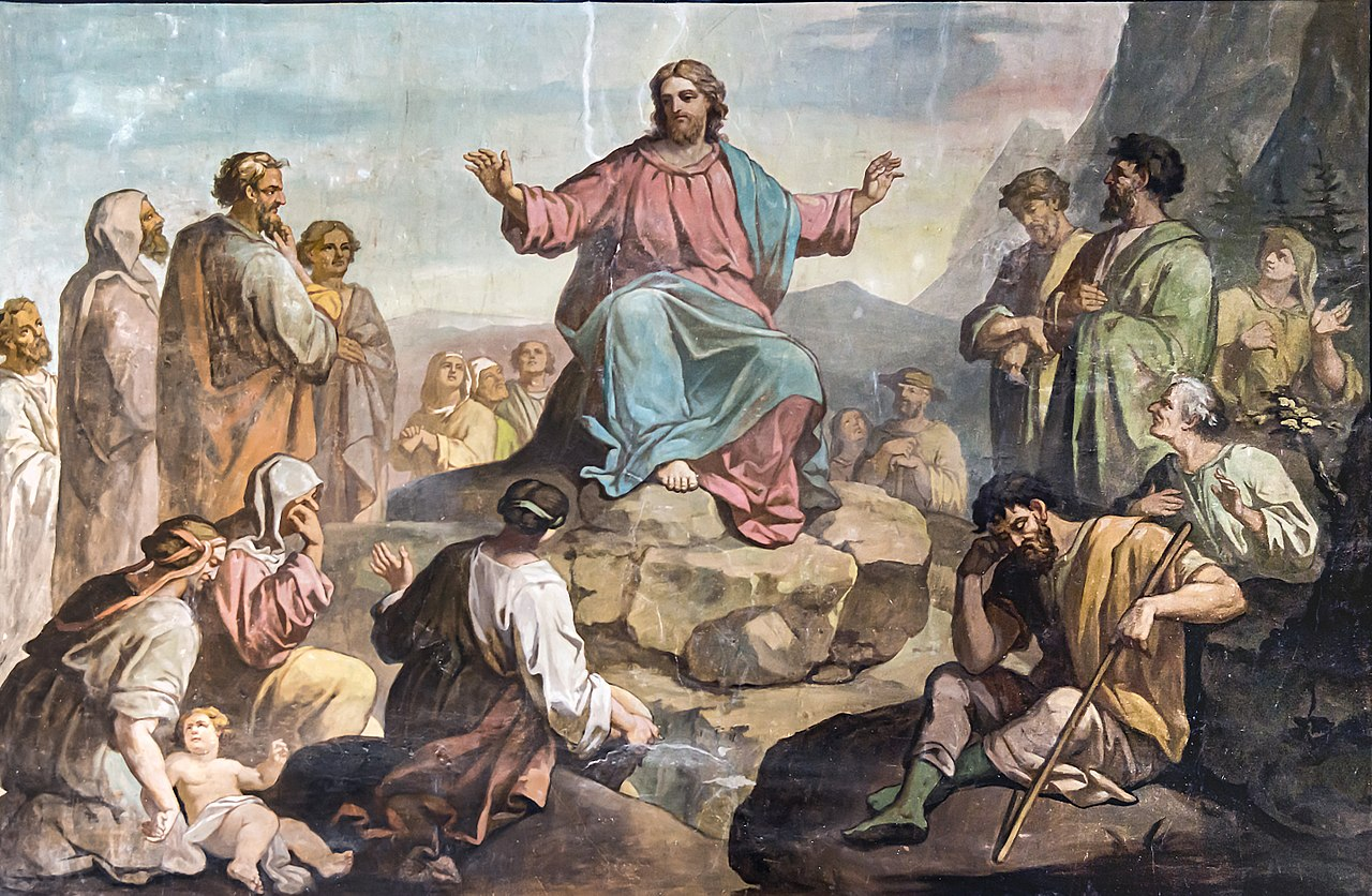 Painting of Jesus surrounded by followers, delivering His Sermon on the Mountain.