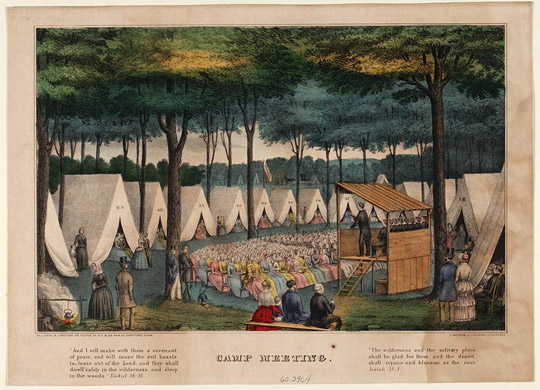 Lithograph (1849) of tent revival or camp meeting during the Second Great Awakening.