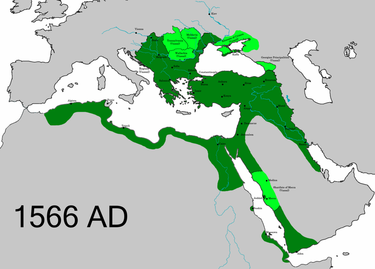 A map of Afro-Eurasia shows the extent of the Ottoman Empire in the sixteenth centuries, stretching from North Africa, the Middle East, and Eastern Europe.